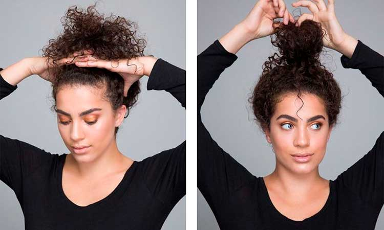 curly hair tips   pineapple trick