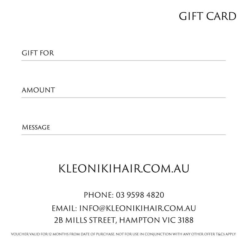 Kleoniki Hair Gift Card Back