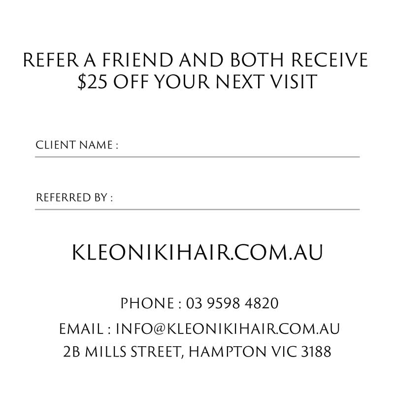 Kleoniki Hair Refer a friend card