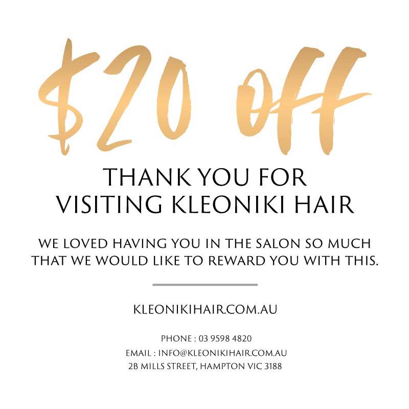 Kleoniki Hair first visit card